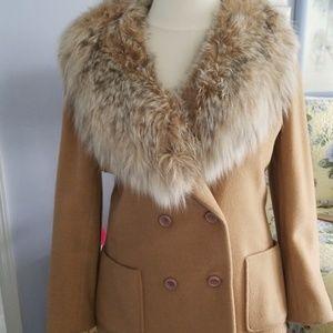 Vintage cashmere with fur collar (fox)